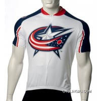 New Style Columbus Blue Jackets Cycling Jersey Short Sleeve Tj-708-0776