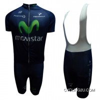2013 Movistar Professional Team Cycle Jersey Short Sleeve + Bib Shorts Kit Tj-837-2511 Discount