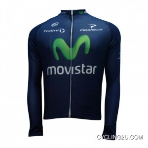 2013 Movistar Cycling Long Sleeve Jersey Tj-075-3889 New Year Deals